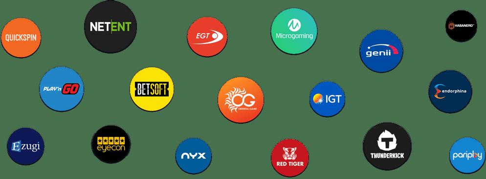 Game Providers Logos: Netent, Betsoft, Playngo, Microgaming