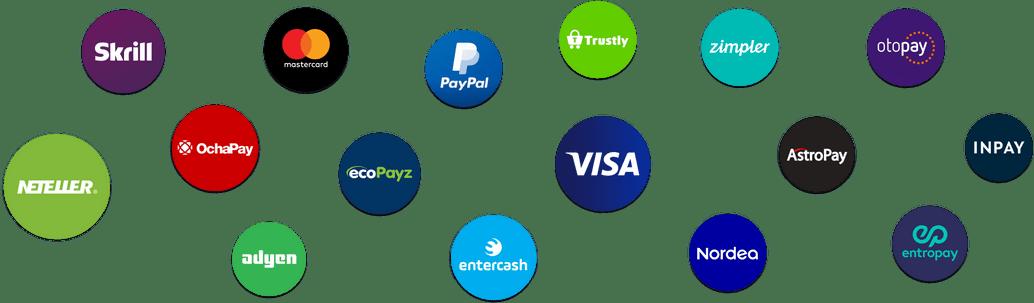 Payment Providers Logos: VISA, Mastercard, Trustly, Skrill, Neteller
